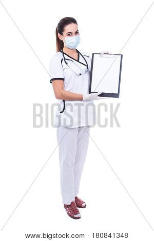 Full Length Portrait Of Woman Doctor In Mask Holding Clipboard With Blank Paper Isolated On White