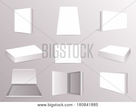 Package Paper Boxes Front Top Isometric Closed Open Mock Up Set Realistic Icon Template Design Vector Illustration