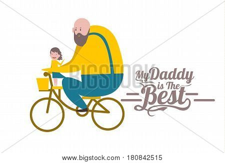 My daddy is the Best. Happy father's day. Father and daughter on bike. flat character design and elements. vector illustration