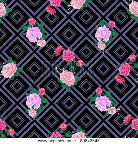 Seamless pattern with pink roses and leaves on a dark striped background.Geometric and floral ornament.Summer Vector illustration.Print for book covers, textile, fabric, wrapping paper, scrapbooking.