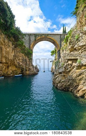 Italy Amalfitana Coast tre bridge of the route 163 seen from the Furore fjord