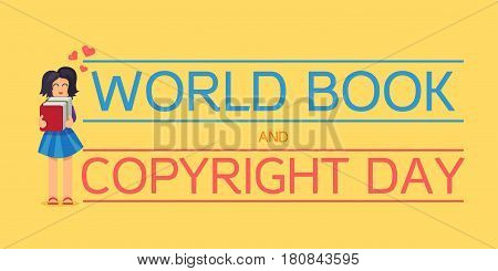World Book and Copyright Day Horizontal Banner Wtih Reading Girl. Vector