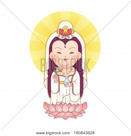 Vector Illustration of Guanyin the Goddess of Mercy Standing on Lotus. Chinese Goddess. Cartoon Character.