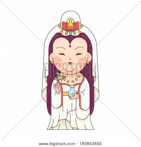 Vector Illustration of Guanyin the Goddess of Mercy. Chinese Goddess. Cartoon Character.