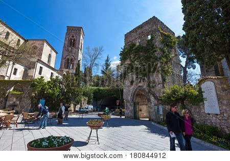 Ravello Italy - April 6 2011: Visitors near the entrance of Villa Rufolo