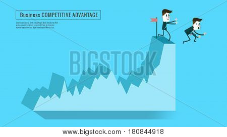 businessman push competitor down from top graph. Concept of competition risk of investment . flat character design and elements. vector illustration