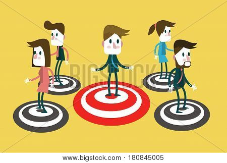 People standing on a Bullseye. Concept of target market audience group consumergoal success. flat character design and elements. vector illustration