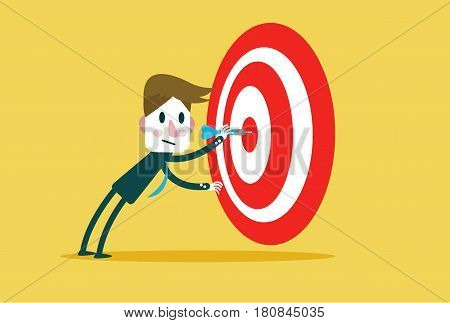Corporate Guy Hits a Bulls-eye. Concept target market audience group consumergoal success. flat character design and elements. vector illustration
