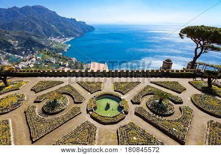 Italy Amalfitana Coast Ravello view on the coast from Villa Rufolo