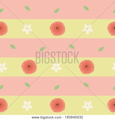 Seamless pattern with flowers and leaves on a striped background. It can be used for packing of gifts, tiles fabrics backgrounds. Vector illustration.