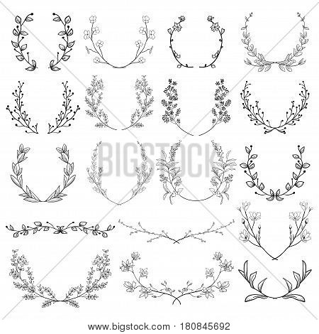 Black Hand Drawn Herbs, Plants and Flowers, Florals. Decorative Outlined Branches, Laurels, Brackets.Vector Illustration