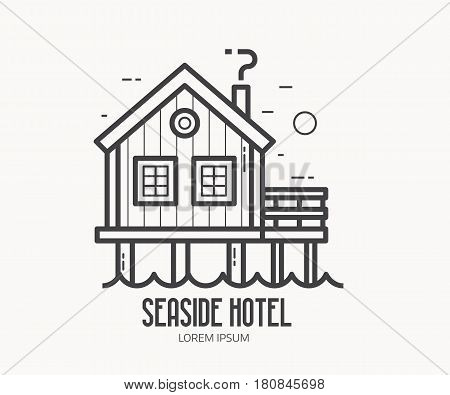 Seaside hotel logo or label template in linear style. Sea stilt house logotype in thin line design. Beach pier home outline icon.