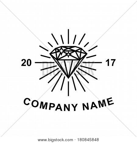 Black diamond logotype concept isolated on white background.
