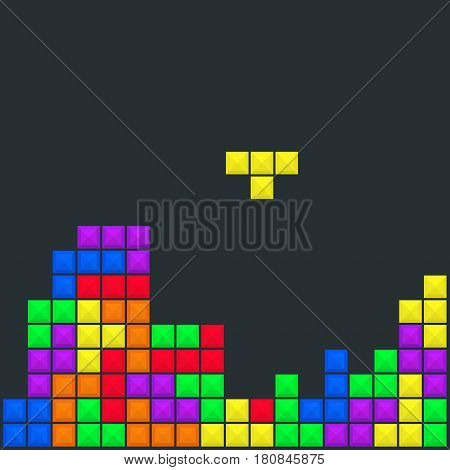 Old video game background template. Brick game pieces layout. Vector illustration.