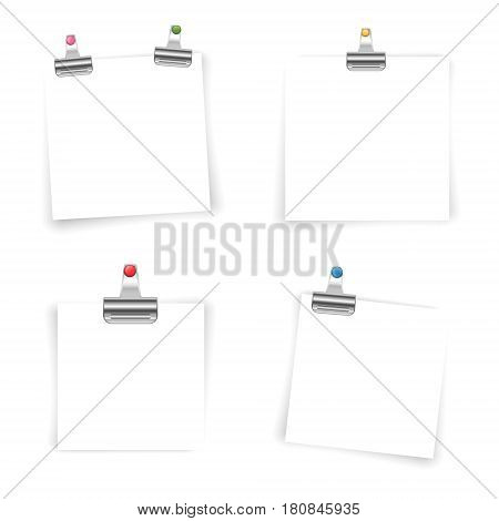 Blank paper sheets with colored push pin and binder clip isolated on white background. Vector illustration.
