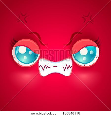 Vector illustration of an angry red face. Kawaii angry face.