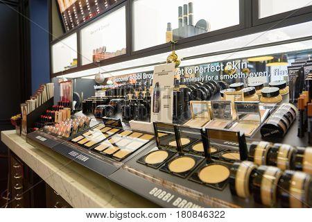 HONG KONG - CIRCA NOVEMBER, 2016: goods on display at Bobbi Brown store.