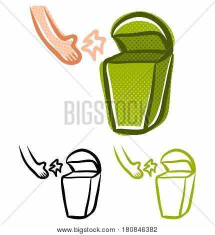 Vector vintage set icons with garbage and hand. Retro garbage basket.