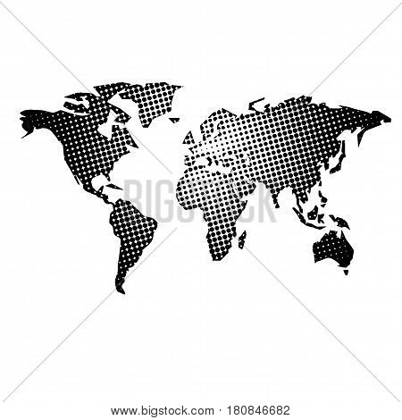 Dotted world map. Abstract world map illustration with different size dots.