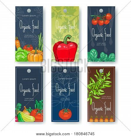 Set of organic food tags. Vector illustration