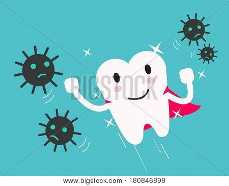 superhero healthy tooth attack bacteria and germ. flat design illustration. vector