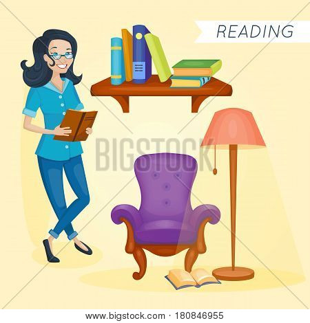 Smiling smart woman is reading the book. Vector illustration. Cartoon style