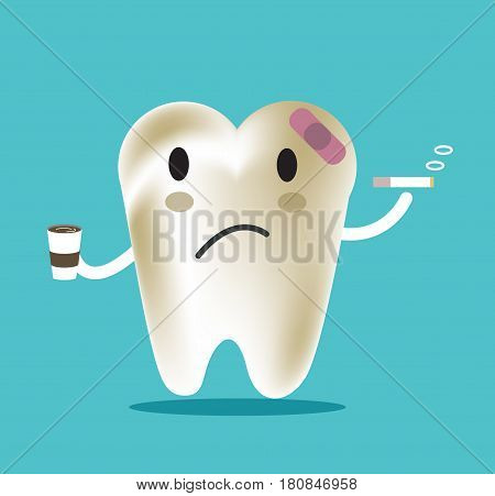 unhealthy tooth with coffee and smoke great for dental care and teeth whitening and bleaching concept. flat character design. vector illustration