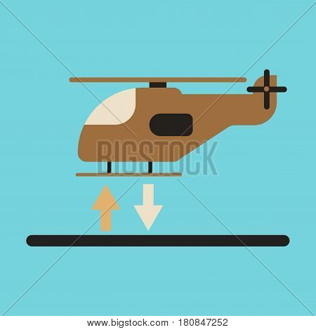 Icon in flat design helicopter lands transportation