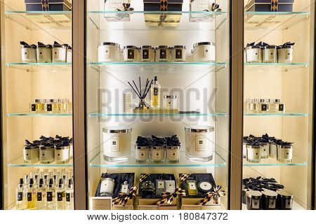 HONG KONG - CIRCA NOVEMBER, 2016: inside Jo Malone store at the Elements shopping mall in Hong Kong. Jo Malone London is a British perfume and scented candle brand.