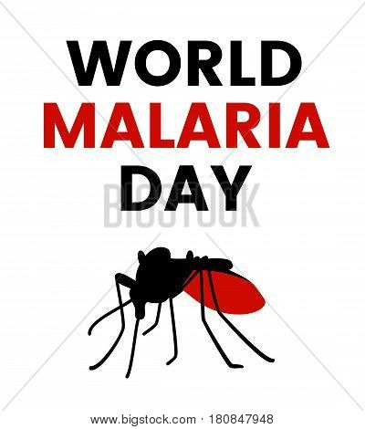 World Malaria Day illustration with stop, prohibit sign and mosquito