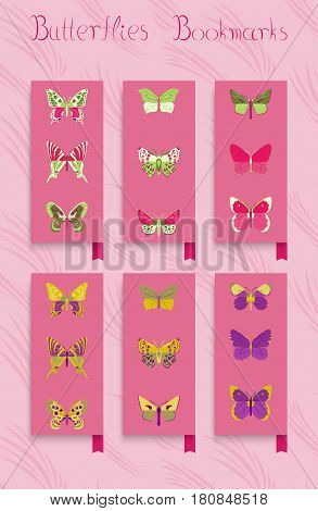 Set of ornament bookmarks colorful butterfly decor