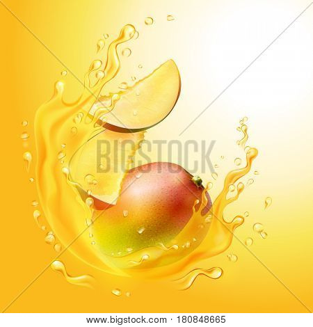 The raster version a splash of juice with mango and mango slices.