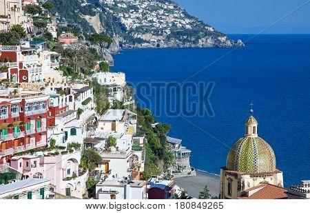 Italy Amalfitana Coast Positano view of the country on the sea.