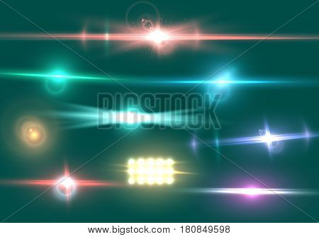 Illustration of Vector Lens Flare Effect. Realistic Camera Lens Flare Set
