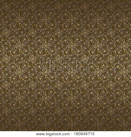 seamless pattern with gold flowers and swirls