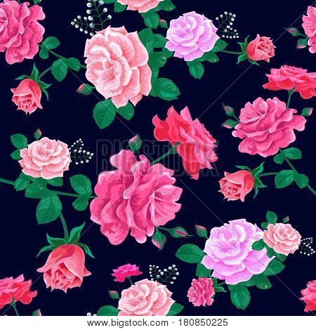 Beautiful seamless pattern with pink roses on a dark blue background.Magnificent bouquet.Summer Vector illustration in the retro style.Print for book cover, textile, fabric, wrapping paper, scrapbooking.