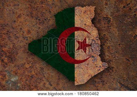 Map And Flag Of Algeria On Rusty Metal