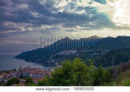 Italy Amalfitana Coast sunset on Vietri Sul Mare area