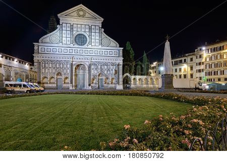 The church of Santa Maria Novella in the night in Florence