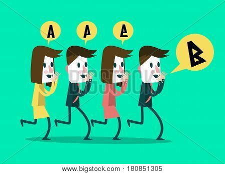 business people whisper some message to middle people wrong communication. flat cartoon design. vector illustration