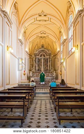 Sorrento Italy - November 15 2015: A chapel of the Cathedral