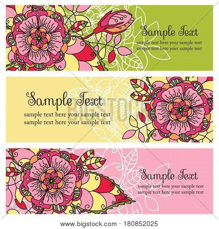 vector set of horizontal banners with flowers