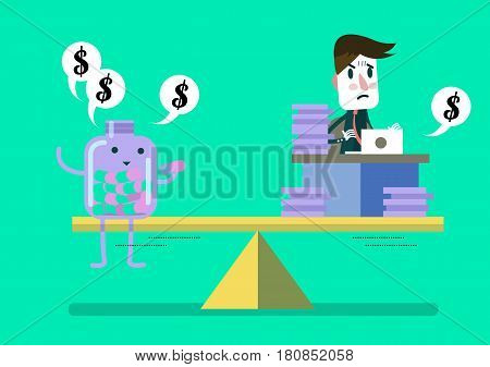Man working hard compare with pill bottle (medical fee). flat cartoon design. vector illustration poster