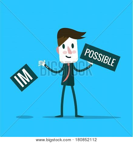 Businessman tearing up a sign saying - Impossible - conceptual of successfully overcoming problems and challenges and positive attitude. flat design elements. vector illustration