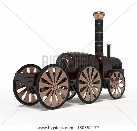 steampunk toy train, 3d render
