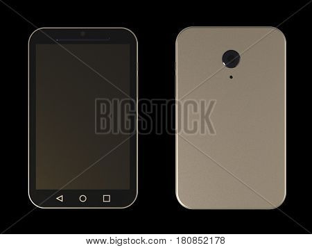 smart-phone, front and back, 3d render