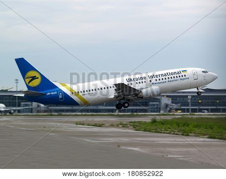 Borispol, Ukraine - May 18, 2014: Ukraine International Airlines Boeing 737-400 aircraft departing from the Borispol International Airport on May 18, 2014. Editorial use only