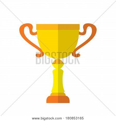 Cool vector flat design gold cup award icon. Winner prize goblet. First place champion trophy reward isolated. Success reward symbol web icon. Vector illustration on white