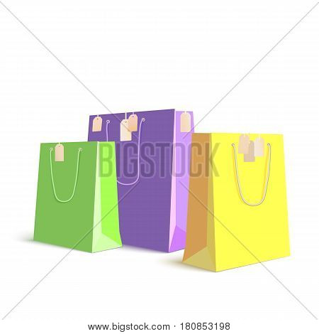 Set of paper, colored shopping bags, resizable vector illustration. Purple, green and yellow bags for shopping with tag on white background