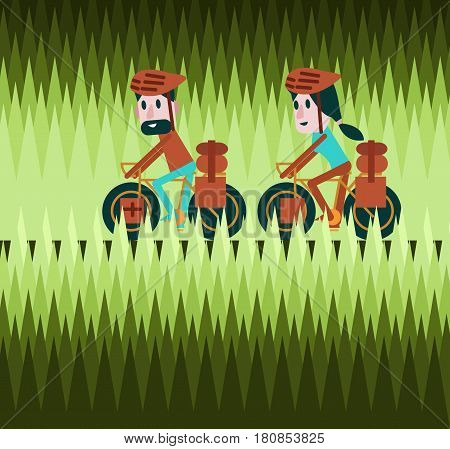 Man and woman cycling on greenfield road. Bike tour concept. flat design elements. vector illustration